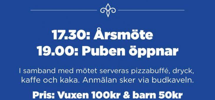 Årsmöte & Pub 18/3