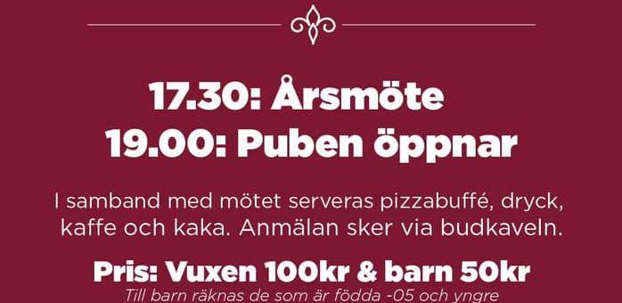 Årsmöte & pub 30 mars